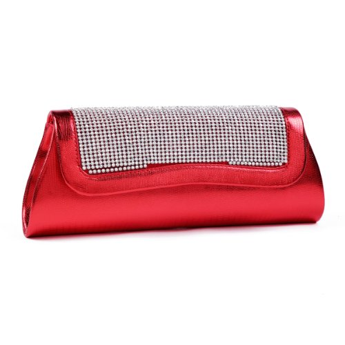 Damara da donna strass Chic serpente PU Pelle Frizione Sera Borse red