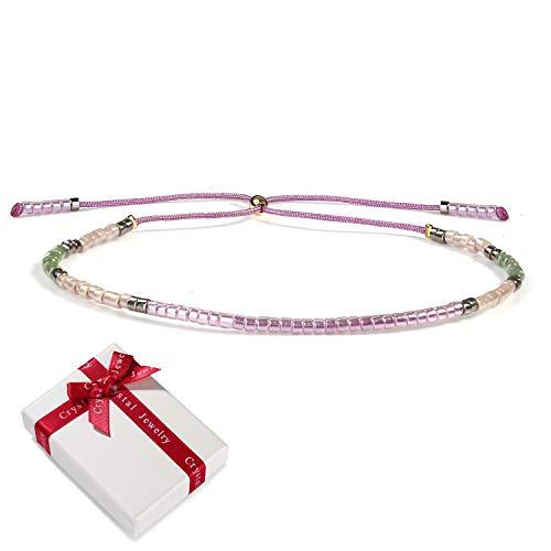 Damen Dünn Seil Rocailles Perlen Armband Freundschaftsarmbänder für Frauen Mädchen, Boho Charme Verstellbar Zart Armreif Armkettchen Geschenk für Mama Beste Freundin Weihnachten Muttertag Geburtstag