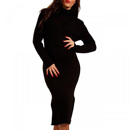 Damen Strickkleid mit Rollkragen Pencil Dress Schwarz