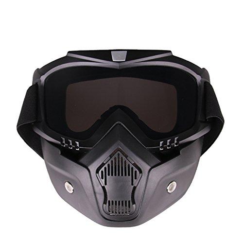KKmoon Motorrad Brille Gesicht Cross Country Maske Tactical Winddicht Sand-Beweis Breathable Reiten Sonnenbrille Outdoor Sports Spiegel Abnehmbare Gläser