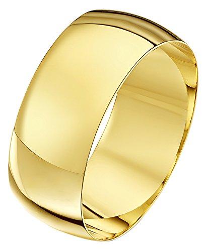 Theia Unisex Ehering 9 Karat Gelbgold, Massive D-Form, poliert, 8mm - Größe 47 (15.0) - 8mm Ehering