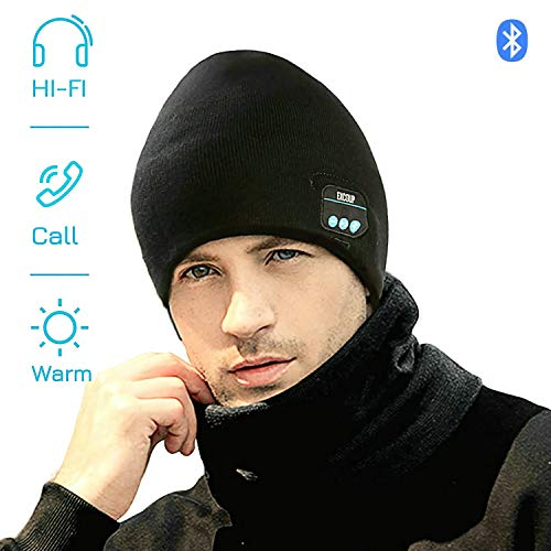 EXCOUP Bluetooth Beanie Mütze, Musik Hut Strickmütze Mit Headset Mikrofon Freisprechfunktion für Outdoor Sport Eislauf Wandernder Kampierendes Unisex
