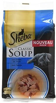 SHEBA Set de 12 Soupes aux Filets de Thon pour Chat 4 x 40 g 48 Sachets Fraîcheur
