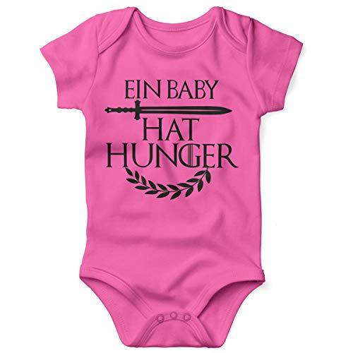 Mikalino Babybody mit Spruch für Jungen Mädchen Unisex Kurzarm EIN Baby hat Hunger | handbedruckt in Deutschland | Handmade with Love, Grösse:62, Farbe:pink