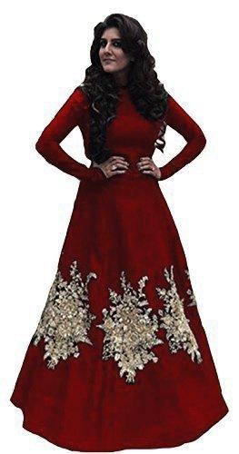 Sunshine Fashion Women's Cotton Silk Anarkali Salwar Suit Set - SUNG048_Maroon_Free Size