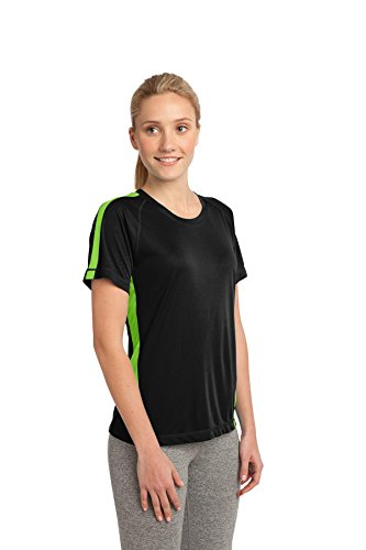 Sport-Tek Polo de Colorblock Competitor pour Femme Black/ Lime Shock