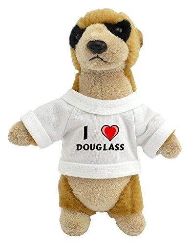 Preisvergleich Produktbild Personalisiertes Erdmännchen Plüsch Spielzeug mit T-shirt mit Aufschrift Ich liebe Douglass (Vorname/Zuname/Spitzname)