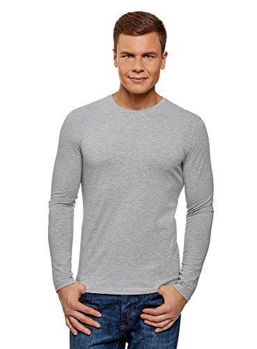 Oodji ultra uomo maglia in cotone con maniche lunghe senza etichetta, grigio, it 56-58/eu 58-60/xxl