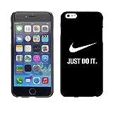 Custom Famous brand design per iPhone 6 Plus/6s Plus 5,5 - Custodia Nike Logo Just Do It Quotes per ragazze - Sfondo Nero