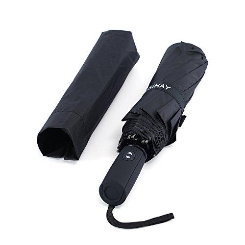 Winddicht Regenschirm, Kompakt Reise/Outdoor Taschenschirm mit einhändiger Auf-Zu-Automatik, Schirmdurch aus robusten 210T Stoff, stilvolle und winddichte transportabel Stockschirme (schwarz)