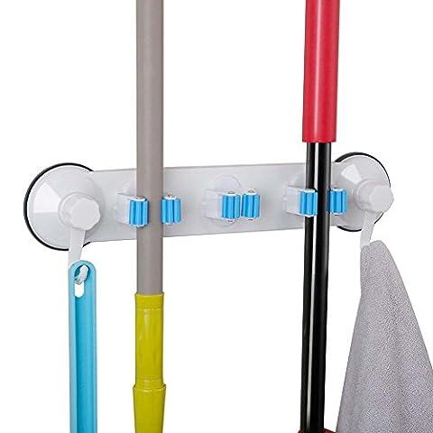 Serpillère Balai support organiseur ménagers de salle de bain Plastique à fixation murale Ventouse Serpillère Clip étagère Rack de stockage avec 2crochets de suspension pour un Dortoir Maison Garage Jardin