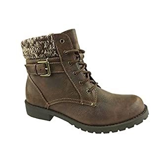 American Eagle Outfitters Girls Faux Leather Knitted Collar Ankle Boots Side Zip Brown (10)