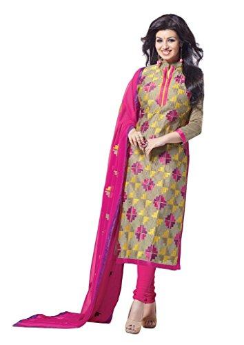 DnVeens Women's Chanderi Embroidered Party Wear Unstiched Churidar Salwar Kameez Suit Dress...