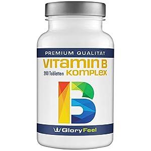 GloryFeel® Vitamin B Komplex Hochdosiert – VERGLEICHSSIEGER 2019* – 200 Tabletten – Alle 8 B-Vitamine B1 B2 B3 B5 B6 B7 (Biotin) B9 (Folsäure) B12 – Laborgeprüfte Herstellung in Deutschland