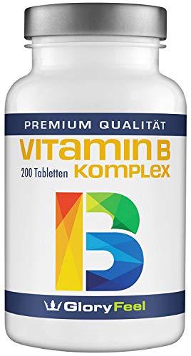 Folsäure B6 Vitamine (Vitamin B Komplex Hochdosiert - VERGLEICHSSIEGER 2019* - 200 Tabletten - Alle 8 B-Vitamine B1 B2 B3 B5 B6 B7 (Biotin) B9 (Folsäure) B12 - Laborgeprüft ohne unerwünschte Zusätze made in Germany)