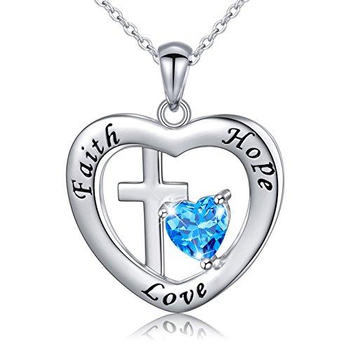 Flyow 925 Sterling Silber Modern Schmuck Anhänger Herz Kette Geformte Halskette für Damen und Mädchen (kreuz) (Mädchen Kreuz Halskette)