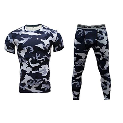 YiJee Sportivo Compression Manica Manica Corta e Fitness Lunga Pantaloni da Uomo S