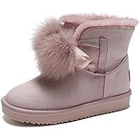 Botas de nieve impermeables antideslizantes para mujer Botas de nieve de bolas de piel de zorro Nuevo invierno más terciopelo gruesos zapatos de algodón cálido Calzado de estudiante ( Color : Rosado )
