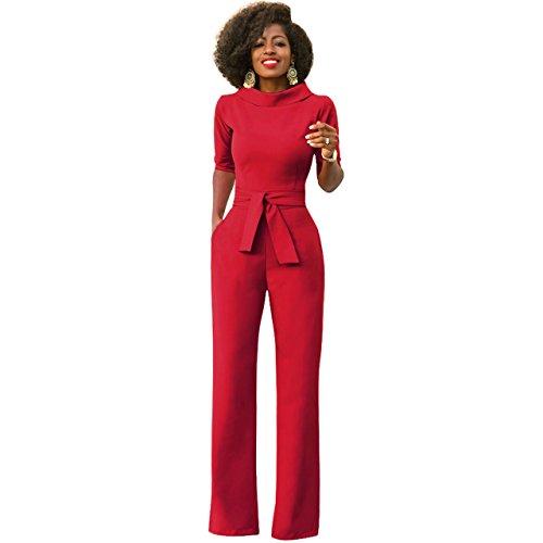 Damen Elegante Jumpsuit Lang Weites Bein Overalls Hoher Taille Spielanzug mit Gurt Halbe Hülse Business Büro, Rot XL