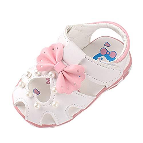 Alwayswin Baby Mädchen Geschlossene Sandalen Neugeborenes Weich Bequem Kleinkindschuhe Süß Mode rutschfest Babyschuhe Einzelne Schuhe Sommer Slip-On Klettverschluss Sandalen