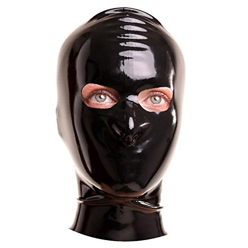 EXLATEX Latex Gummi Fetisch Kapuzenmaske mit ?ffnungen f¨¹r die Augen (Halb Maske Mit Pfauenfedern)