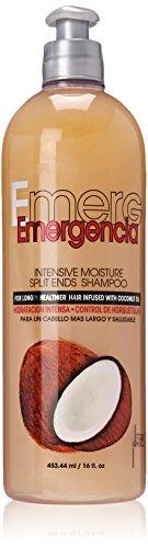 Emergencia Intensives Feuchtigkeits Spliss Shampoo 453ML - für längeres, gesünderes Haar mit Kokosnussöl angereichert - Haarspliss Reparaturshampoo, Kokosnussöl für Haare