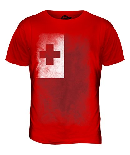CandyMix Tonga Verblichen Flagge Herren T Shirt Rot