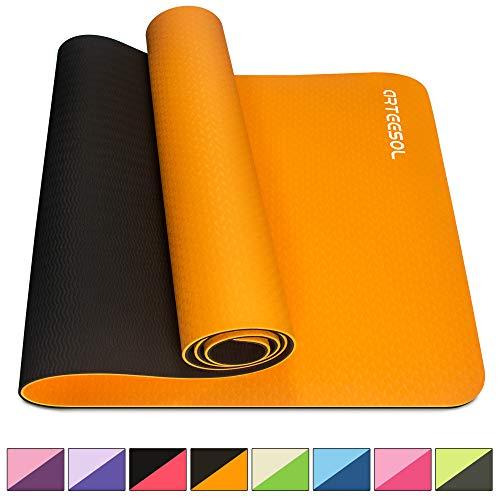 arteesol Yogamatte rutschfest Gymnastikmatte Schadstofffrei TPE Naturkautschuk Dünn Yoga Matte Fitnessmatte für Yoga Pilates Fitness 183cm x 80cm x 6mm (Orange, 183x80x0,6cm)