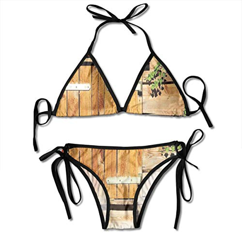 Jiger Adjustable Bikini Set Halter Ladies Swimming Costume, Facade of An Old Building Wooden Shutters Traditional House Summer Plants Nature,Halter Beach Bathing Swimwear -