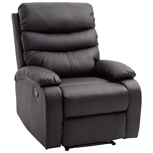 HOMCOM Liegesessel Relaxsessel Sessel Liegefunktion Neigungswinkel 168 ° Schwarz L82 x B97 x H100 cm