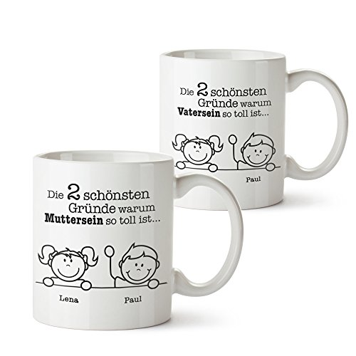 Casa Vivente 2er Set Tasse mit Aufdruck - Gute Gründe Mama und Papa - Personalisiert mit Namen - Individuelle Kaffeetassen als Mama und Papa Geschenke- Geschenkideen zu Weihnachten