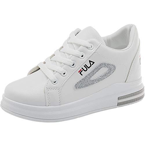 wealsex Femme Basket Mode PU Cuir Plateforme Talon 6.5 cm Bout Rond A Lacet Chaussure Sneaker Tennis (Blanc,37)
