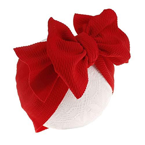 RENNICOCO Bogen Haarband Stirnband Stretch Turban Knoten Krawatte Kopf Wraps Baby-Stirnbänder Neugeborene Säuglingskleinkind-Haarbänder mit Bogen-Kinderhaarzusätzen (Stirnband Red Bow)