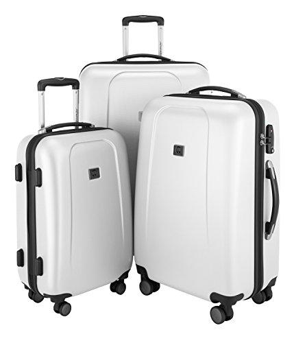 HAUPTSTADTKOFFER - Wedding - 3er Koffer-Set Trolley-Set Hartschalen-Koffer Rollkoffer Reisekoffer, TSA, (S, M & L), weiß