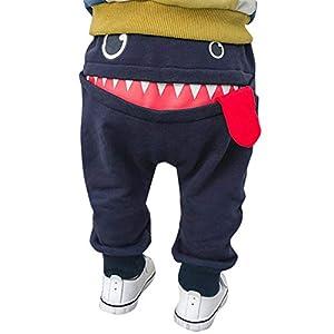 LANSKIRT Pantalones Bebé Niños Niñas Pantalon Cálidos Dibujos Animados Tiburón Lengua Harem Pantalones Ropa Deportiva de Invierno 6 Meses-3 años 3