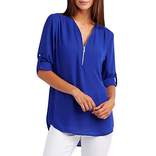 Elecenty Blusen Reizvolle Damen Bluse Langarmshirt Tiefer V-Ausschnitt Oberteile Frauen Reißverschluss Tops Frauen Blusenshirt Solide Damenmode T-Shirt Hemden Tops Hemd (S, Blau) (Solide V-ausschnitt Knöpfe)