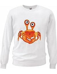 "Sweatshirt ""KRABBE KREBS MITTELMEER ANGELN SEAFOOD FISCH"" in Weiß"