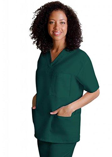 adar-universal-unisex-v-neck-tunic-3-pocket-scrub-top-601-hunter-green-l