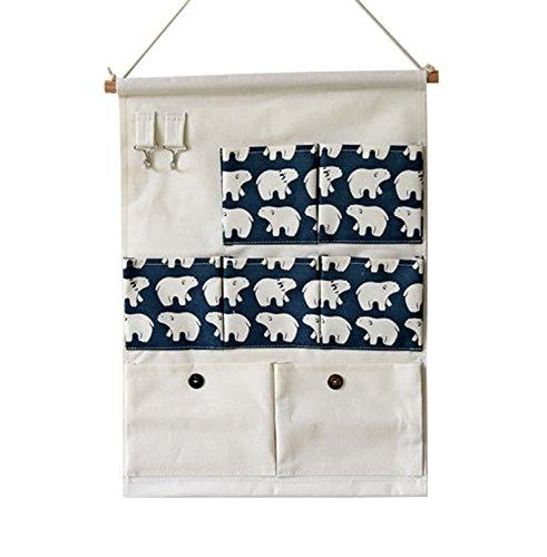 Kimjun Baumwollbeutel Wand hängenden Beutel 7 Tasche Wand Häng Aufbewahrungstasche Hängenden Tasche Organizer Multifunktionale Wohnzimmer Schlafzimmer Utensilo 35*50CM (Bären)