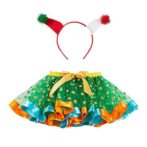 Lazzboy Unterrock Kinder Mädchen Ballettröckchen Weihnachtsfeier Ballett Kleinkind Kostüm Rock+Hirsch Stirnband Tüllrock Tütü Pettirock Prinzessin Ballettrock Geschenk(Grün,L)