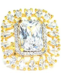 Gold Plated Classic Chamfered Square Floral Adjustable Ring With American Diamond Crystal For Women And Girls