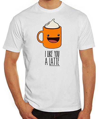 Geschenkidee Herren T-Shirt mit I Like You A Latte Motiv von ShirtStreet Weiß