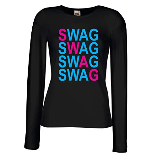 angen Ärmeln T-Shirt Swag Fashion, Hipster Clothing Urban Street Style Outfits (Small Schwarz Blau) ()