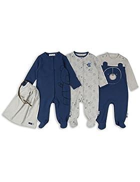 The Essential One - Baby Jungen Bär Streifen Schlafanzug/Einteiler/Strampler (3-er Pack mit Beutel) - Blau/Grau...