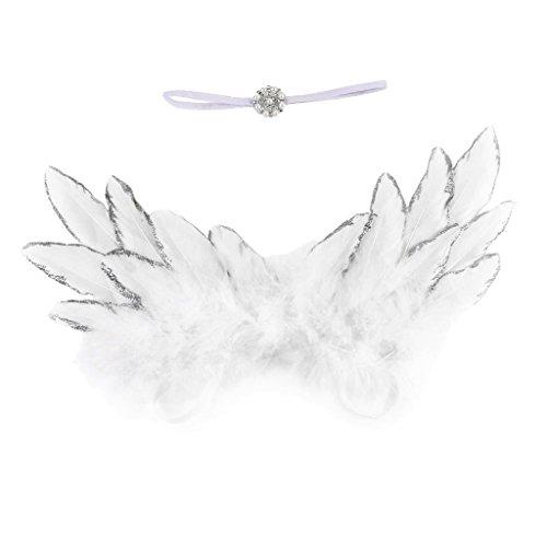 Newborn Mädchen Baby Foto Fotografie Haarband Engelsflügel Fotoshooting Kostüm Prop Engel Fee Flügel - Weiß, wie beschrieben