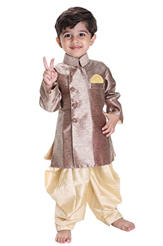 JBN Creation Kids Biker Jacket Look Indowester Sherwani Suit Dress with Patiala Style Cowl Dhoti Pant For Boys (Color: Bronze & Gold)
