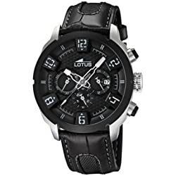 Lotus Men's Quartz Watch with Black Dial Chronograph Display and Black Leather Strap 15787/6
