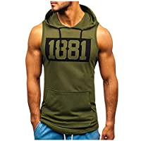 OULSEN Fitness Vest Printing Muscle T-shirt For Men Round Neck Sleeveless Sport Tee Tops Bodybuilding Tight-drying Tank Top