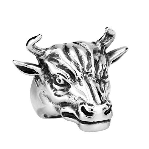 XNCBM Schmuck Edelstahlmens Weinlese gotische Ringe Verärgerte Bulls Head Matador Biker Ringe (Bulls Rosenkranz)