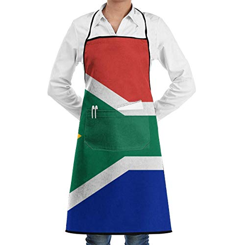 lbare Latzschürze mit Tasche, South African Flag Schürze, Unisex Kitchen Bib Schürze with or Cooking Baking Gardening, Cooking, Baking, Crafting, Gardening, BBQ ()